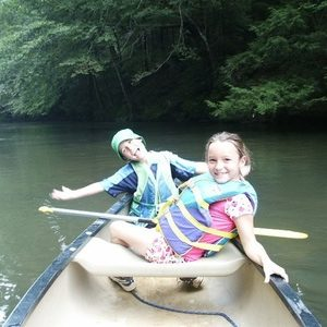 kids in a canoe