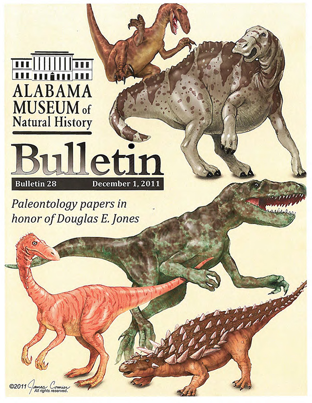 front cover of a back issue of the Bulletin, depicting a variety of dinosaurs