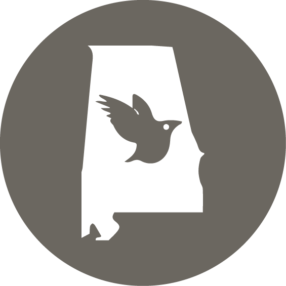 outline of state of alabama with a bird in the middle